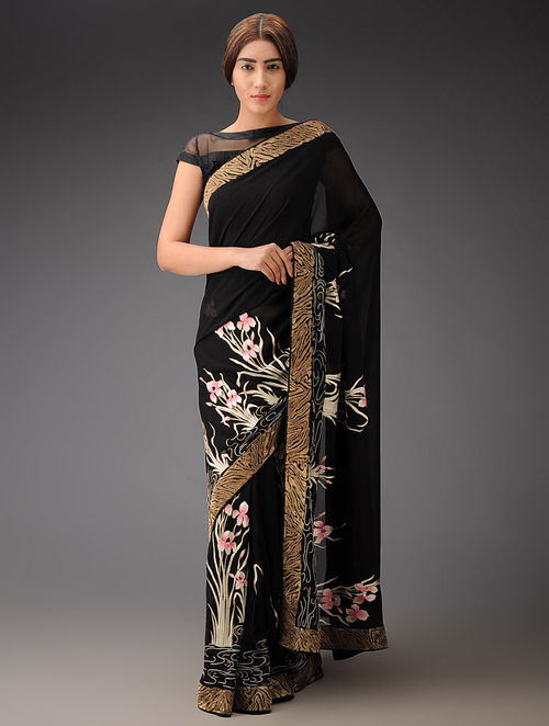 Black-White Iris with Gold zari border Georgette Parsi Gara Saree