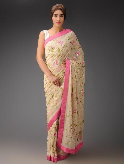 Buy Cream Pink Floral Georgette Parsi Gara Saree Online At