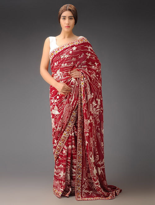 Red-White Flora and Fauna Georgette Parsi Gara Saree