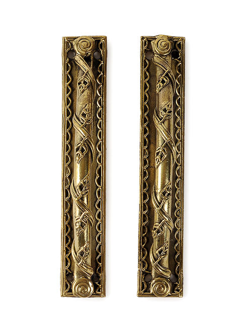 Dhokra Brass Door Handle (Set Of 2) (L:6in, W: