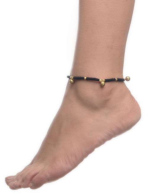 online buy string at for thread jaypore bracelets anklet black golden sale ankle brass com