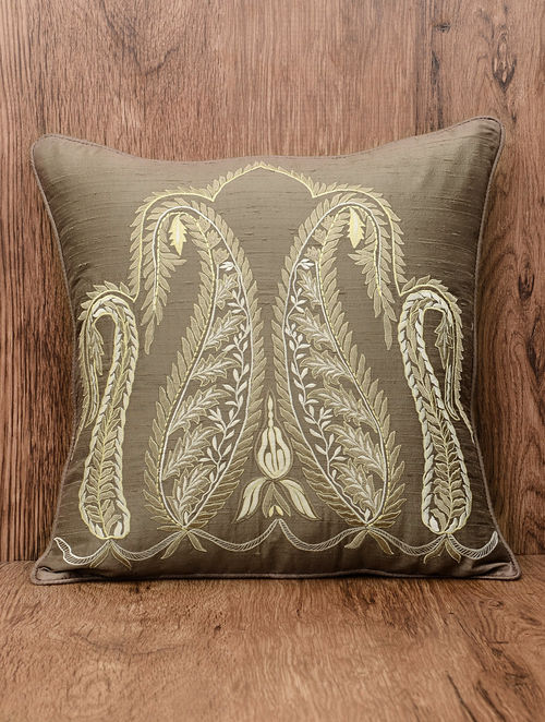Buy Taupe Silk Paisley Embroidered Cushion Cover 18 5in X