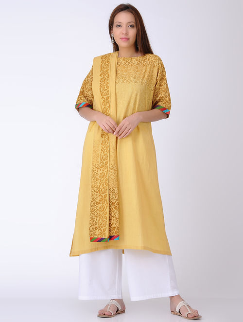 f3fd2b1d57 Buy Mustard Block-printed Cotton Kurta-XXL Online at Jaypore.com