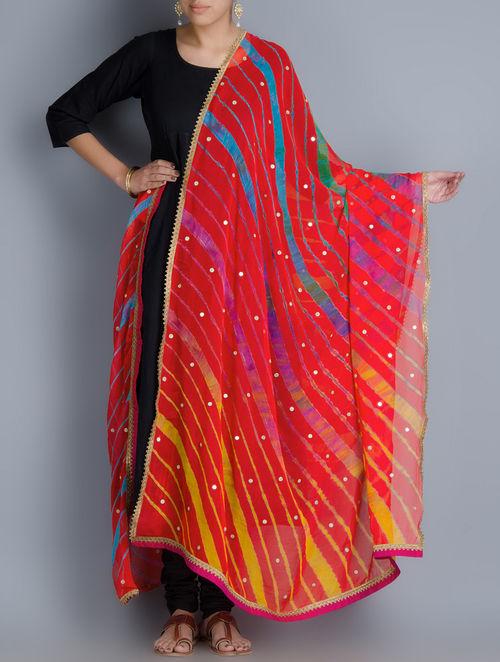 Buy Multi Color Chiffon Leheriya Dupatta By Rang Bandhej