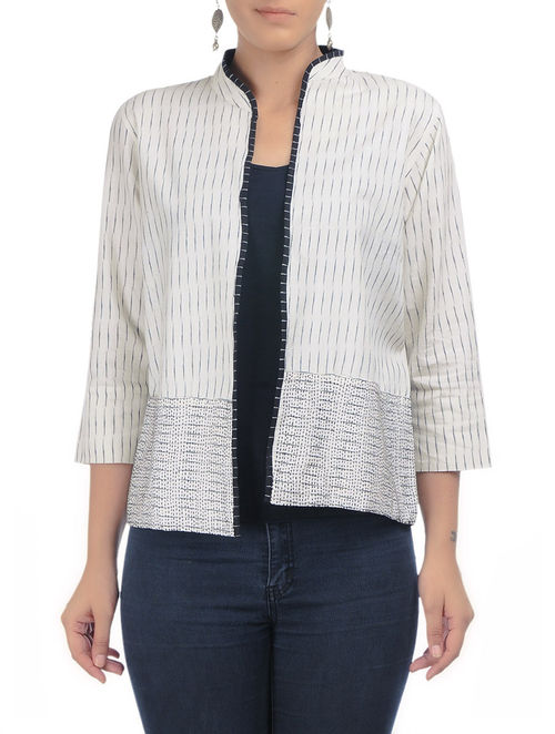 Buy ivory black kantha embroidered ikat cotton jacket