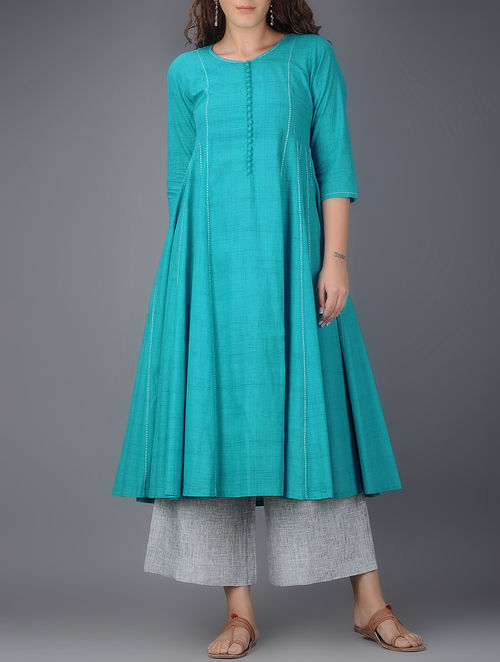 Buy Blue Kalidar Cotton Kurta With Tanka Work Online At