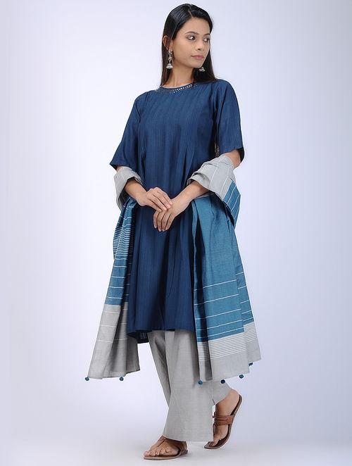 Buy Navy Round Neck Tussar Silk Kurta Online At Jaypore Com