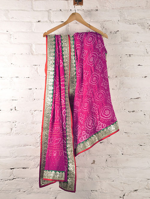 Buy Crimson Pink Gota Patti Mukaish Amp Zari Georgette