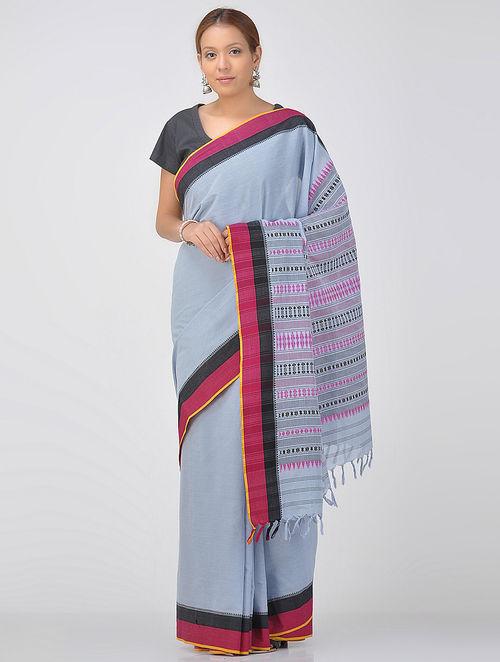 Blue-Pink Cotton Saree