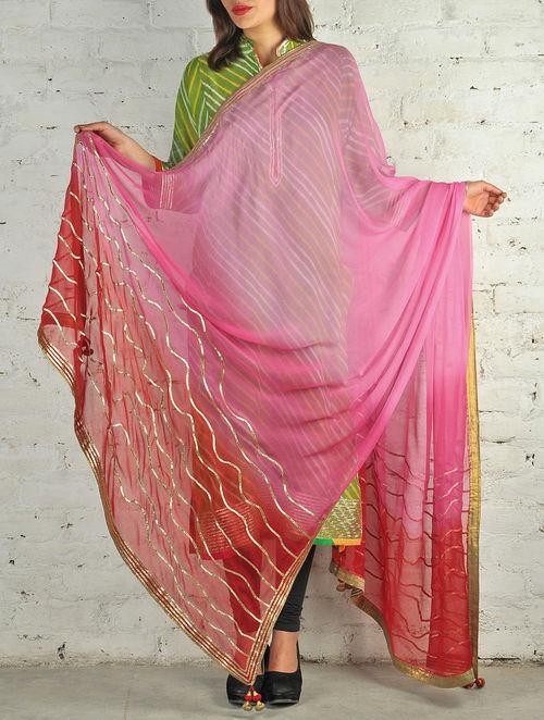 Buy Pink Crimson Gota Patti Chiffon Dupatta Online At