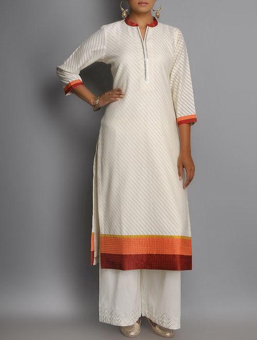 Buy Ivory Maroon Orange Pintuck Silk Detailed Cotton Silk