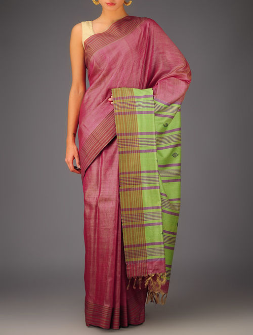 Pink-Green Tussar Dupion Silk Handwoven Saree
