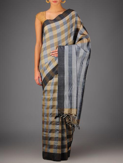 Grey-Beige Tussar Dupion Silk Handwoven Saree