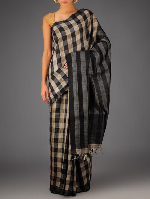 Black-Beige Tussar Dupion Silk Handwoven Saree