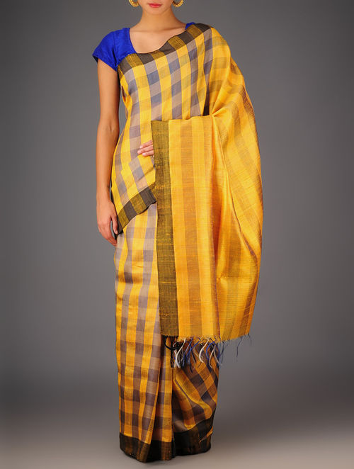 Yellow-Grey Tussar Dupion Silk Handwoven Saree