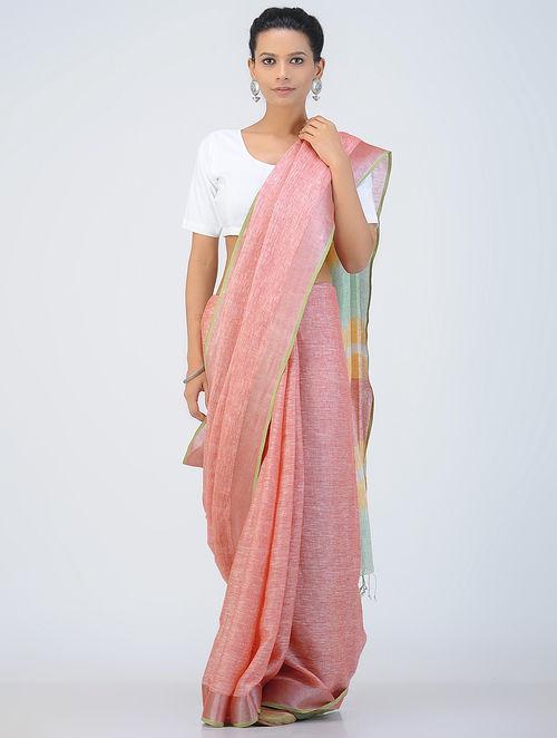 Buy Pink Green Linen Saree With Zari Online At Jaypore Com