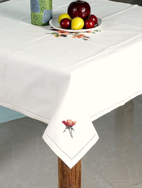 Off White Cotton Table Cloth With Cross Stitch Floral Design 35in X 34.5in