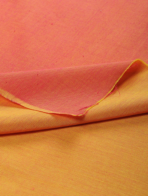 Coral-Mustard Reversible Twill Cotton Fabric