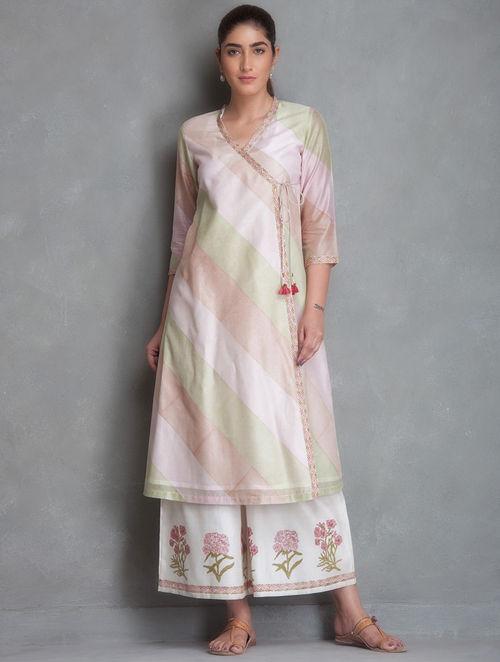 Buy Pink-Green-Brown Block Printed Chanderi Angrakha Kurta Online at  Jaypore.com 0fc14070e