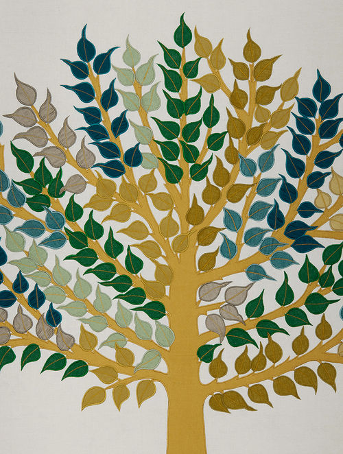 Buy Green -Yellow Peepal Tree Embroidered Wall Art on Silk - 38 in x ...
