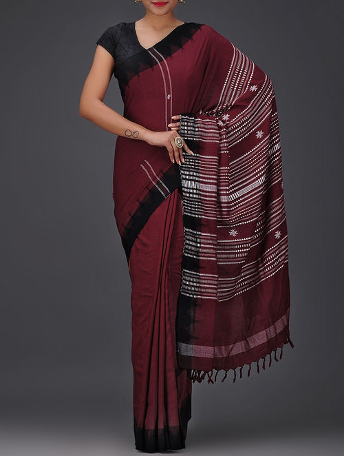Buy Maroon Black Kotpad Cotton Tussar Silk Saree Online At