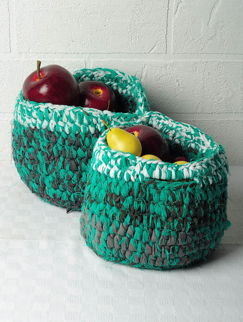 Recycled Storage Baskets-Set of 2