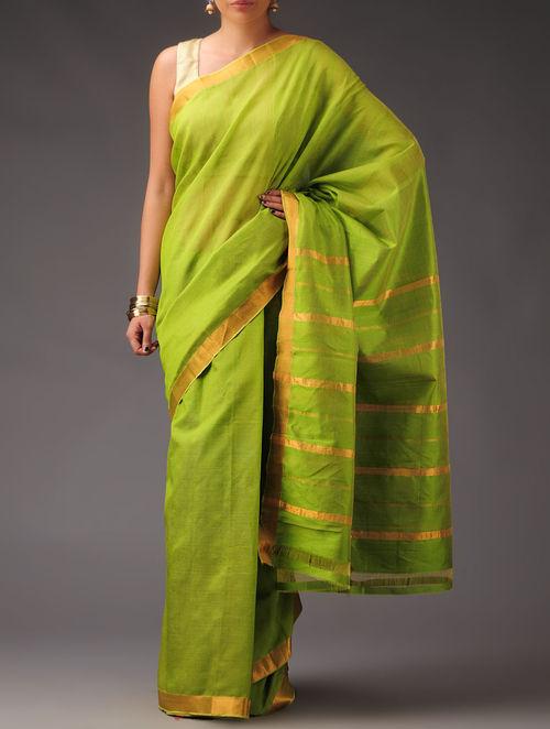 Buy Lime Green Golden Cotton Silk Mangalagiri Saree Online