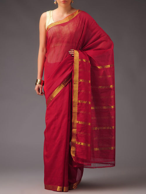 Buy Red Golden Cotton Silk Mangalagiri Saree Online At