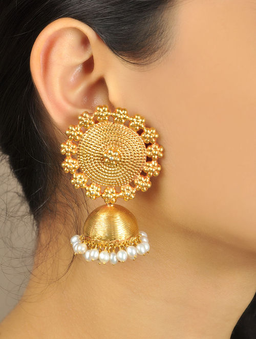 buy floral temple golden jhumka earrings online at jayporecom