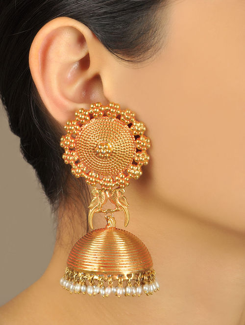 Pakshi Temple Rose Gold Jhumka Earrings