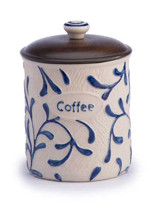 Buy Blue White Canister With Brown Wood Lid 4 75in X 4