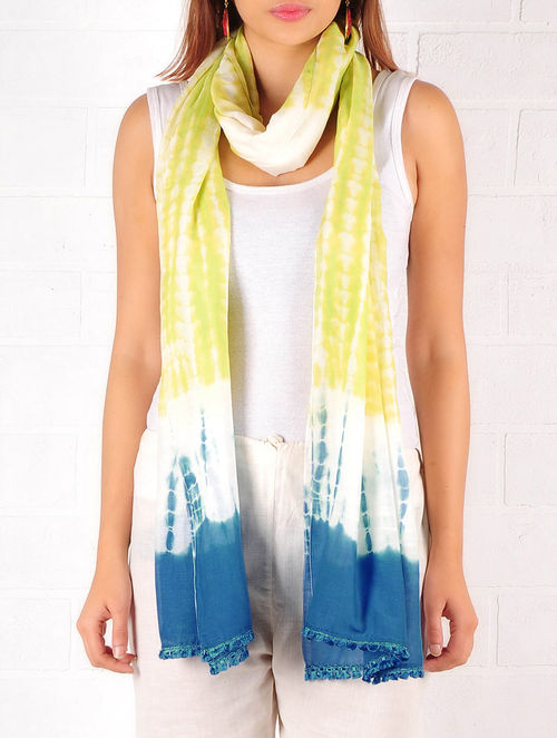 Lime Green-Blue-Ecru Cotton-Silk Shibori Dyed Stole