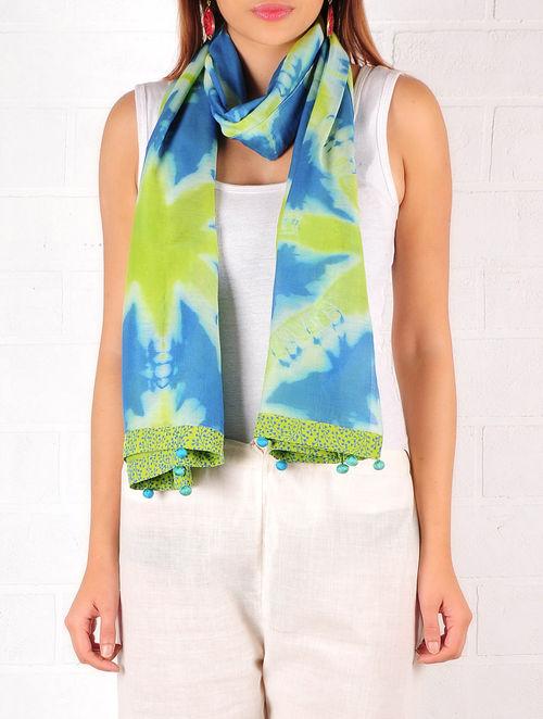 Lime Green-Blue-Ecru Cotton-Silk Shibori Dyed Stole