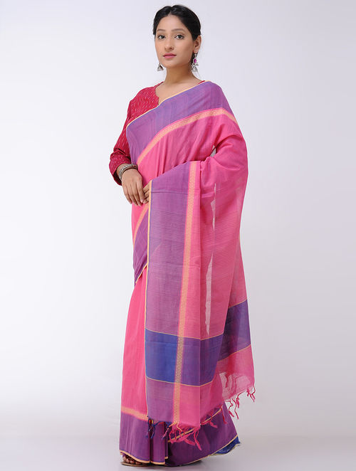 Pink-Purple Cotton Saree