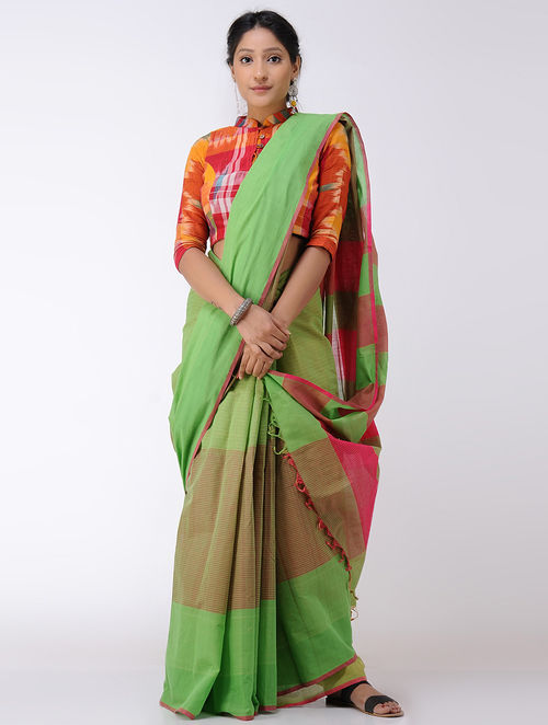 Green-Pink Cotton Saree