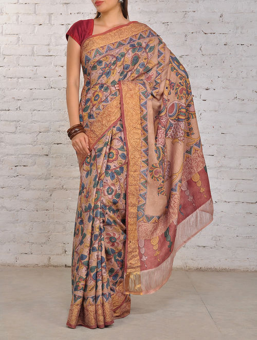 Buy Floral Kalamkari Silk Saree Online At Jaypore Com