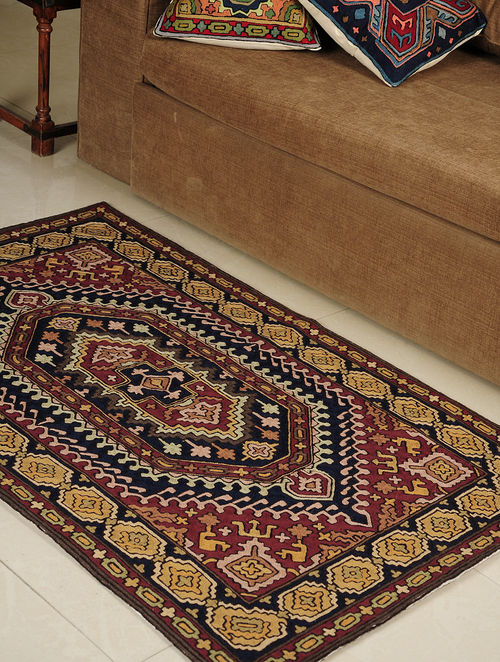 Buy Chain Stitch Hand Embroidered Wool Rug 58in X 35 5in