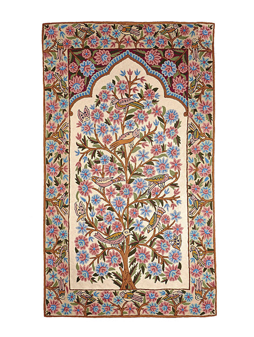 Chain-Stitch Hand Embroidered Wool Rug 59in x 35in