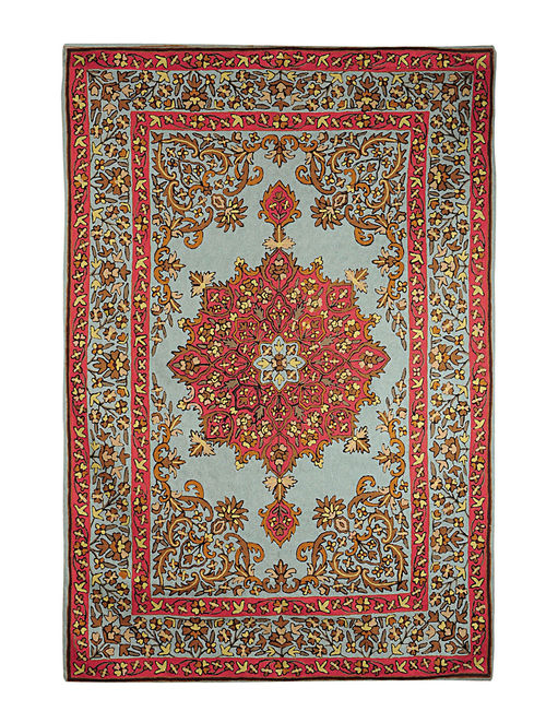 Chain-Stitch Hand Embroidered Wool Rug 68in x 49in