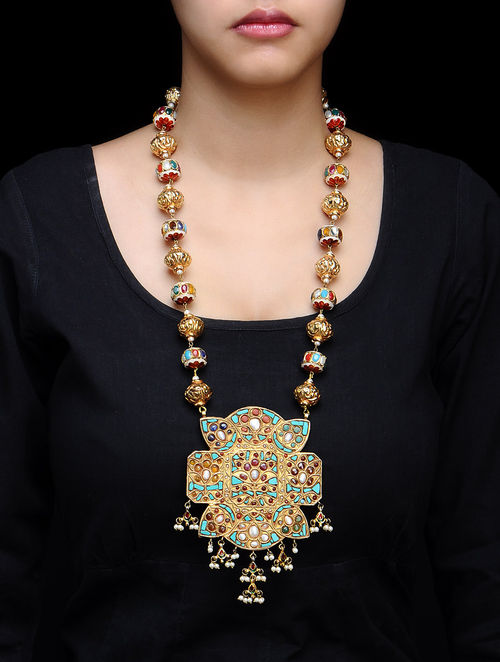 nepal brass gemstone necklace multi bead strand and nepali
