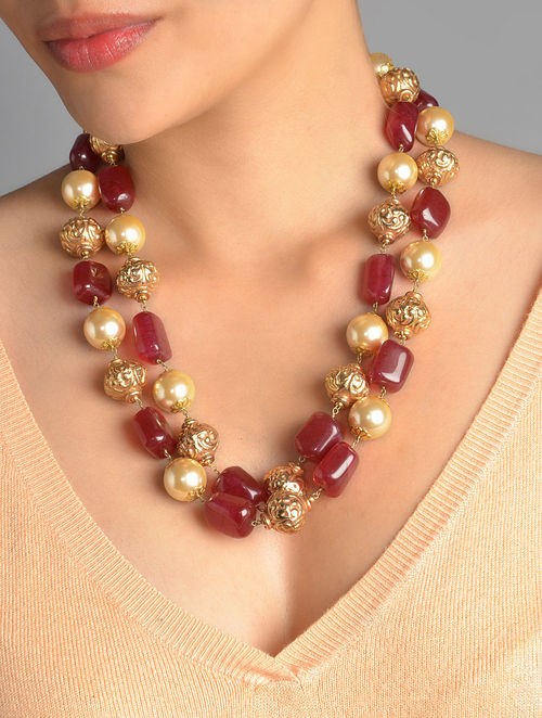 Buy Red Stone Pearl Long Necklace Online At Jaypore Com