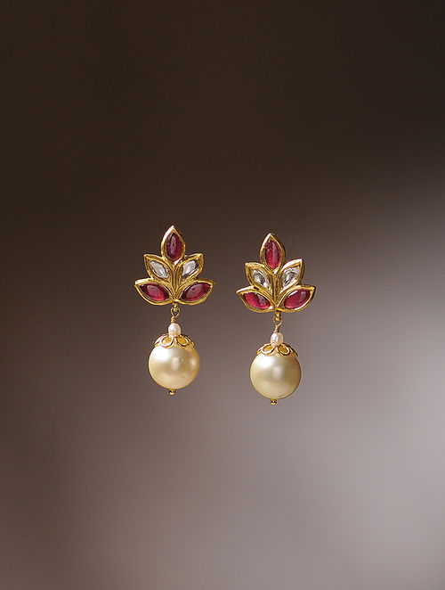 Ruby And South Sea Pearl Diamond Gold Earrings