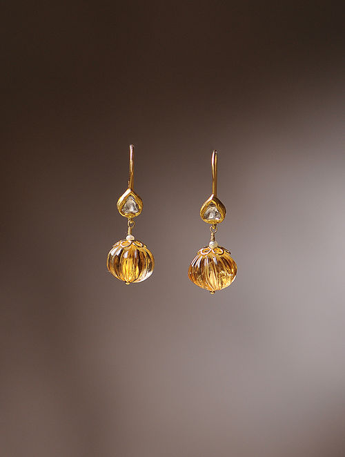 Citrine And Diamond Gold Earrings