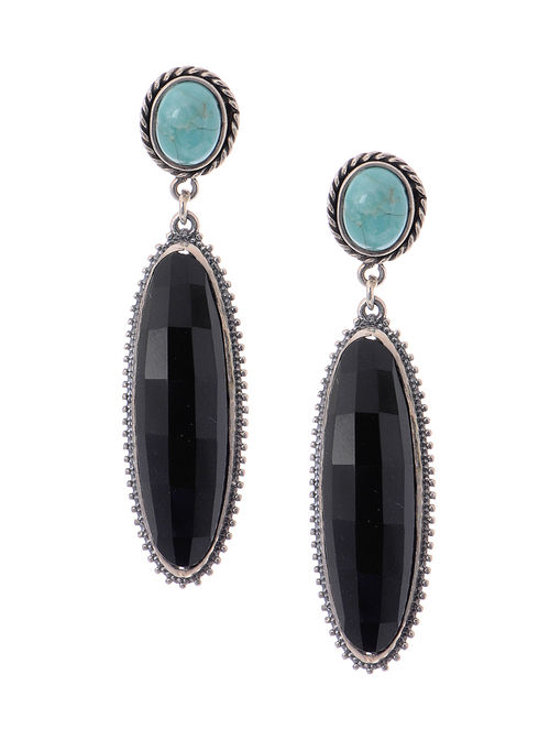 Turquoise And Black Onyx Silver Earrings