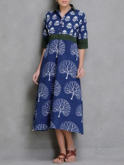 Buy Indigo Block Printed Cotton Dress Online At Jaypore Com