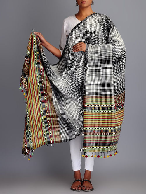Buy Black White Cotton Checks Tassel Handwoven Dupatta