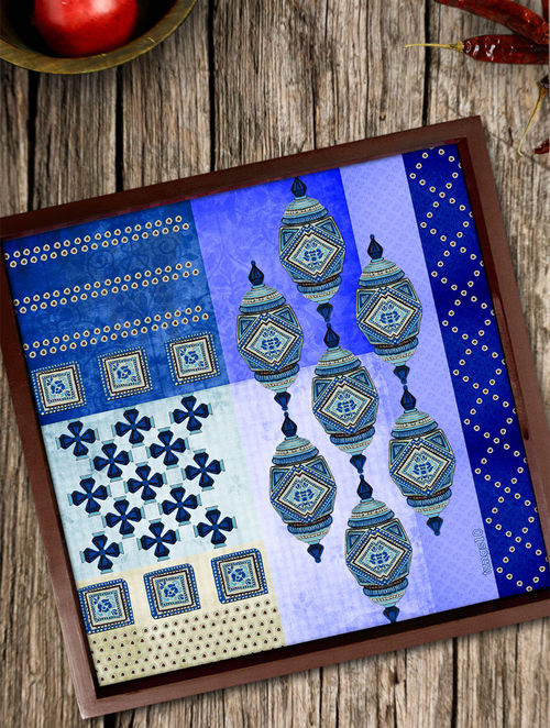 Buy Indigo-White Wooden & Glass Damru Tray - 8in x 8in x 1 3in Online at  Jaypore com