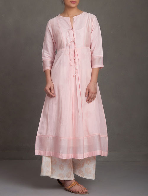 Buy Pink Round Neck Tie Up Front Cotton Linen Kurta With
