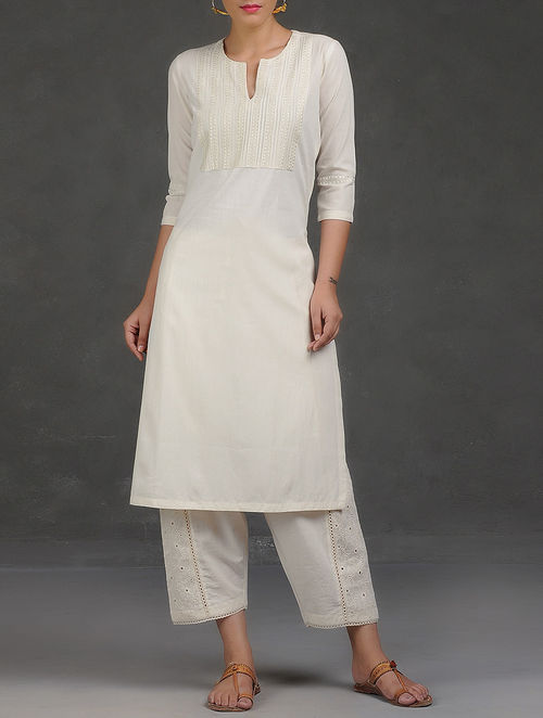 Buy Ivory Embroidered Pintuck Cotton Kurta Online At