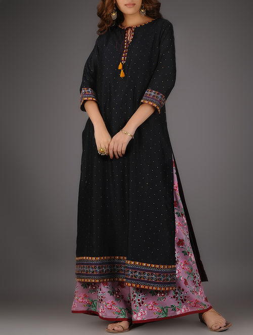 Buy Black Round Neck Khari Printed Chanderi Kurta With